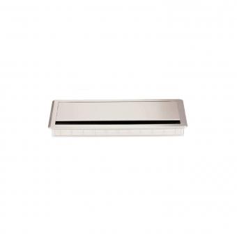 Kabeldurchlass ABS + Alu - Soft Close, silber ABS Kabelf. Aludeckel 299x120x27,5 mm + Dämpfung, silb.