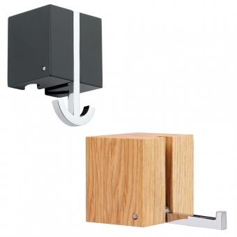 Garderobenhaken Holz und Metall - B 63 x H 100 mm