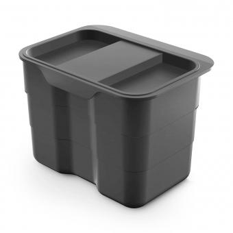 Abfallsammler für Biomüll 4,2 L dunkelgrau bioBin + Deckel 227x165x170 mm, grau