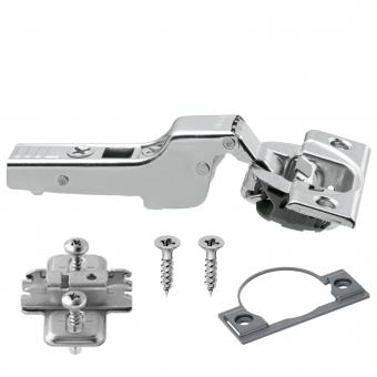 Blum Scharnier mit Dämpfung, 71B3650, schraubbar Mittelanschlag + Montageplatte + Topfdistanz