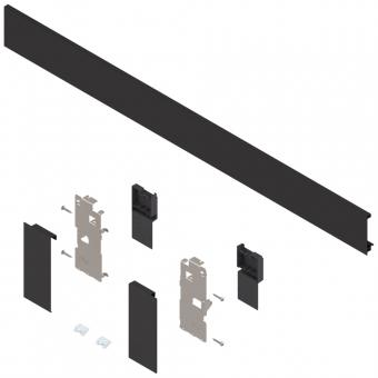 Legrabox Vorderstück Set für Innenlade, mit Zuschnitt K (128.5 mm) | terraschwarz | Breite 700-800 mm
