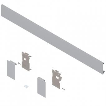 Legrabox Vorderstück Set für Innenlade, mit Zuschnitt M (90,5 mm)   polarsilber   Breite 400-500 mm