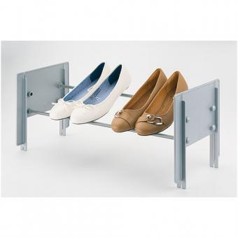 Schuhablage im Schrank, stufenlos einstellbar Schuhträger alufarben/schwarz, B 580-900 mm