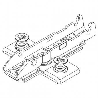 1D-Kreuzmontageplatte Tiomos vormontiert, für Mittelanschlag