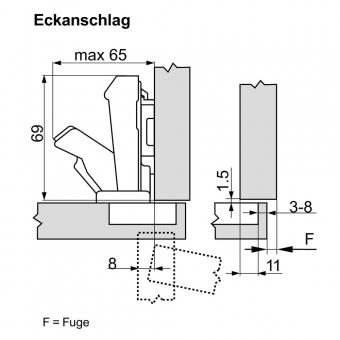 Blum Clip Top Scharnier Weitwinkelscharnier Topfscharnier Schrauben 170° 71T6550