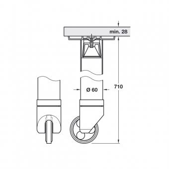 tischfu stahl u alu gerade form durchmesser 60 mm. Black Bedroom Furniture Sets. Home Design Ideas