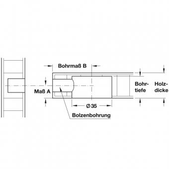 Doppelbolzen Häfele Maxifix Bohrmaß 35 mm