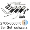 LED Unterbauleuchte Six Big, 3er Set Aluminium schw. E 3er Set Alu mit TOUCH, schwarz - 3x4W - Emotion - inkl. 12 Vdc 15W