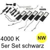 LED Unterbauleuchte Six Big, 5er Set Aluminium schw. NW 5er Set Alu mit TOUCH, schwarz - 5x4W - neutralweiß - inkl. 12 Vdc 20W