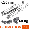 766H5200S Blum Movento Vollauszug Blumotion S, 60 kg - NL 520 mm