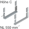780C5502S Legrabox free Zarge C (H 177 mm), polarsilber LBX Zarge free C - NL 550 mm, silber