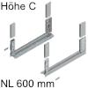 780C6002S Legrabox free Zarge C (H 177 mm), polarsilber LBX Zarge free C - NL 600 mm, silber