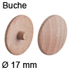 Abdeckkappe aus Echtholz, für Verbindungsgehäuse Minifix Buche, gedämpft - ø 17 mm, Minifix 12 & 15