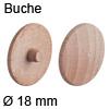 Abdeckkappe aus Echtholz, für Verbindungsgehäuse Minifix Buche, gedämpft - ø 18 mm, Minifix 15