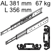 Accuride 3301 Überauszug, Horizontal- / Vertikalmont. AL 381 mm DZ3301-0014-2 für Einbaulänge 356 mm, Tragkraft 67 kg