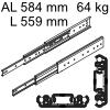 Accuride 3301 Überauszug, Horizontal- / Vertikalmont. AL 584 mm DZ3301-0022-2 für Einbaulänge 559 mm, Tragkraft 64 kg