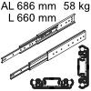 Accuride 3301 Überauszug, Horizontal- / Vertikalmont. AL 686 mm DZ3301-0026-2 für Einbaulänge 660 mm, Tragkraft 58 kg