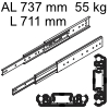 Accuride 3301 Überauszug, Horizontal- / Vertikalmont. AL 737 mm DZ3301-0028-2 für Einbaulänge 711 mm, Tragkraft 55 kg