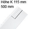 378K5002SA antaro Zarge K (115 mm), seidenweiß TBX Standardz. K - 500 mm, SW