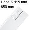 378K6502SA antaro Zarge K (115 mm), seidenweiß TBX Standardz. K - 650 mm, SW
