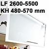 Klappenbeschlag AVENTOS HF schmal HF LF 2600-5500/KH 480-570 mm