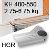 Klappenlift AVENTOS HL, KH 400-550 mm / 2,75-6,75 kg - grau Aventos HL Set - 400-550/2,75-6,75 kg - Kappen - HGR