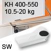 Hochliftklappe AVENTOS HL, KH 400-550 mm / 10,5-20 kg - weiß Aventos HL Set - 400-550/10,5-20 kg - Kappen - SW
