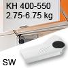 Hochliftklappe AVENTOS HL, KH 400-550 mm / 2,75-6,75 kg - weiß Aventos HL Set - 400-550/2,75-6,75 kg - Kappen - SW