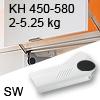 Hochliftklappe AVENTOS HL, KH 450-580 mm / 2-5,25 kg - weiß Aventos HL Set - 450-580/2-5,25 kg - Kappen - SW