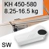 Hochliftklappe AVENTOS HL, KH 450-580 mm / 8,25-16,5 kg - weiß Aventos HL Set - 450-580/8,25-16,5 kg - Kappen - SW