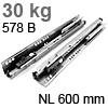 578.6001B Tandembox Korpusschiene plus Blumotion gedämpft 30 kg / 600 mm / 558.600 -> 578.600