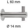 Edelstahl-Haken Länge 60 mm Kleiderhaken Ø 14 / L 60 mm