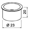 Edelstahl-Kabeldurchlass offen - ø 23 mm - H 20 mm Edelstahl-Kabeldurchlass offen - ø 23 mm - H 20 mm