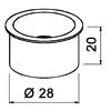 Edelstahl-Kabeldurchlass offen -ø 28 mm-H 20 mm Edelstahl-Kabeldurchlass offen -ø 28 mm-H 20 mm