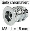 Eindrehmuffe mit Abdeckrand - gelb chromatiert Innengewinde M8 - Länge 15 mm