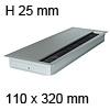 Kabeldurchführung EXIT G14Z Soft Close 110 x 320 mm Exit G14Z + Dämpfung alu - 110x320x25 mm