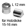 FF Gehäuse Ø 15x12 mm + Gewindestift für Holzdicke 15-16 mm FF Geh. 15x12 + Gew.-Stift M8x6 Set
