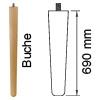 Möbelfuß aus Buchenholz, konisch L 690 mm Möbelf. Buche, Ø 30-53 mm / L 690 mm