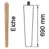 Möbelfuß aus Eichenholz, konisch L 690 mm Möbelf. Eiche, Ø 30-53 mm / L 690 mm