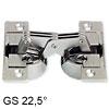 Klappenscharnier für Möbelkonstruktionen mit Gehrung am Korpus und Möbelklappe GS 22,5