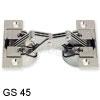 Klappenscharnier für Möbelkonstruktionen mit Gehrung am Korpus und Möbelklappe GS 45