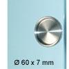 Glastür Muschelgriff, Edelstahl matt, zum UV-Verkleben - Ø 60 x 7 mm
