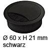 Kabeldurchlass ø 60mm - schwarz Kabelauslass 60 mm schwarz