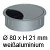 Kabeldurchlass ø 80mm - weißaluminium Kabelauslass 80 mm weißalu / RAL 9006