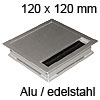Kabeldurchlass Exit Edge 25 aus Aluminium / edelstahl L 120 mm Exit Edge 25 Alu/edelst. - 120x120x25 mm