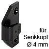 Rahmenteil Keku ASR zum Schrauben mit Senkkopf Ø 4 mm Rahmenteil Keku ASR Hospa 4 mm, schwarz