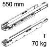 753.5501T Legrabox TIP-ON Korpusschiene, 70 kg LBX Schienen Tip-On - 70 kg / NL 550 mm