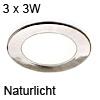 3er Set ATOM LED Spotlight nickel Naturlicht Atom nw / ni - 3x3W /24V