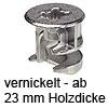 MINIFIX 15 Verbindergehäuse ab 23 mm Dicke vernickelt Gehäuse Minifix 15 / 23 mm vernickelt