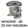 MINIFIX 15 Verbindergehäuse ab 29 mm Dicke vernickelt Gehäuse Minifix 15 / 29 mm vernickelt